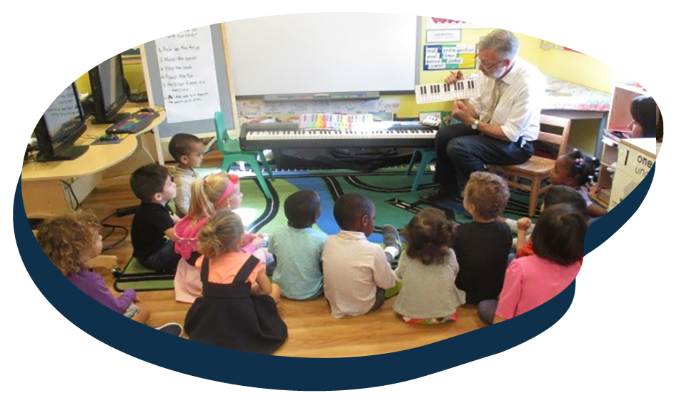Teacher in front with preschool kids showing a piano model in music class , teaching music to children, at a Preschool & Daycare Serving Washington, DC