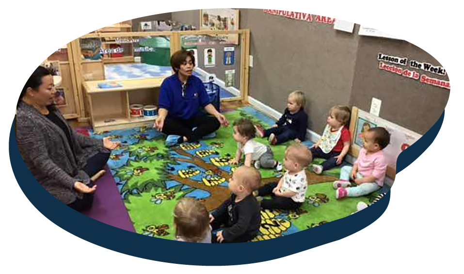 Teachers showing a group of toddlers yoga, development activity at a Preschool & Daycare Serving Washington, DC