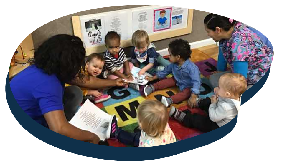 Group of toddlers with teachers doing art activity, early development at a Preschool & Daycare Serving Washington, DC