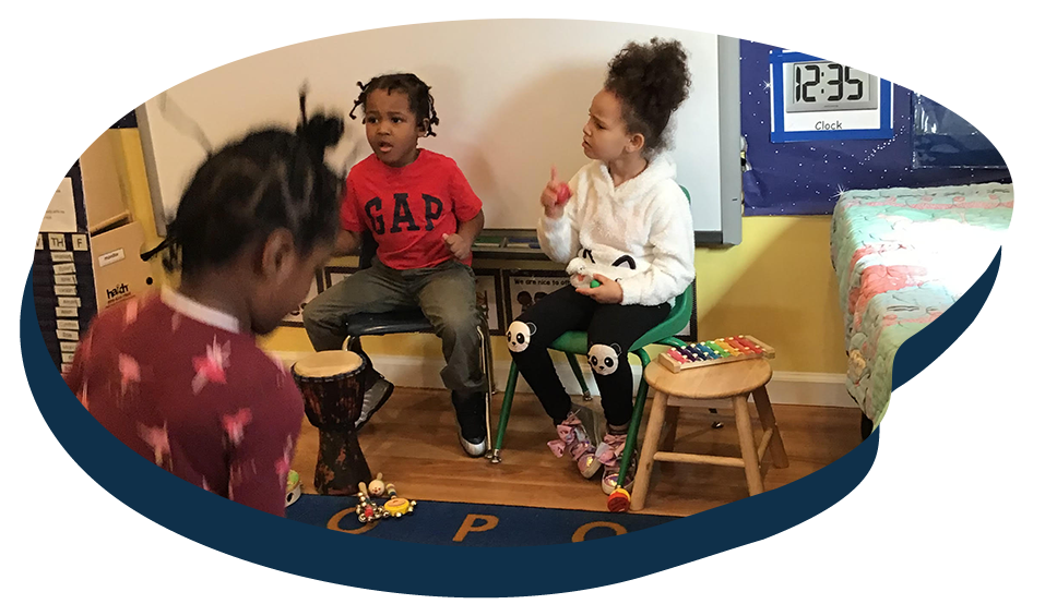 Group of African american kids playing musical instruments, Music class at a Preschool & Daycare Serving Washington, DC