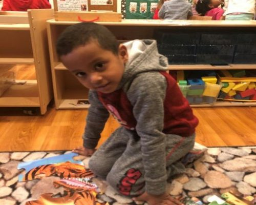 African american preschool boy building a biz puzzle Tiger at a Preschool & Daycare Serving Washington, DC