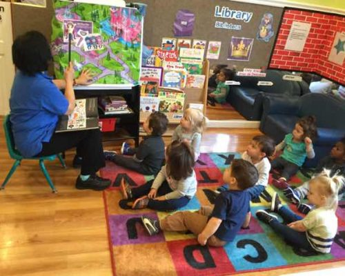 Teacher in front of young little children showing a colorful picture drawn map , early developmental at a Preschool & Daycare Serving Washington, DC