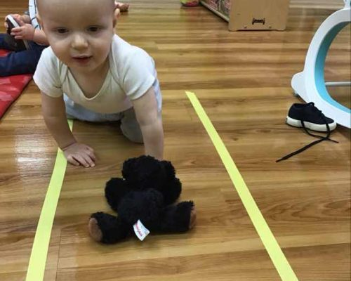 young little toddler crawling while holding a black stuff toy bear at a Preschool & Daycare Serving Washington, DC
